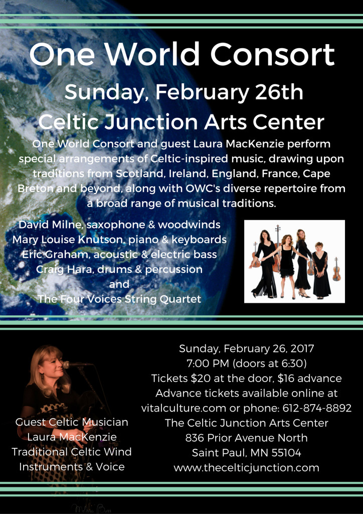 One World Consort with Celtic Musician Laura MacKenzie @ Celtic Junction | Saint Paul | Minnesota | United States